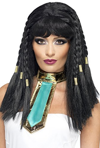 Uk Cleopatra Costume (Smiffy's Women's Ancient Egyptian Black Wig with Braids and Gold Trim, One Size, Cleopatra Wig,)