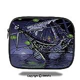 Tablet Bag - Ghost Ship on Fantasy Caribbean Ocean Adventure Island Haunted Vessel Decorative - 10.8