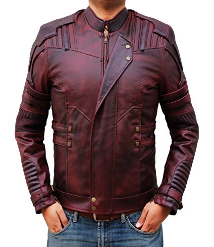 Star Lord Leather Jacket Mens - Guardians of The Galaxy Motorcycle Waxed Leather Jacket (Star Lord Jaket, L)