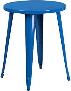 """Flash Furniture Commercial Grade 24"""" Round Blue Metal Indoor-Outdoor Table"""