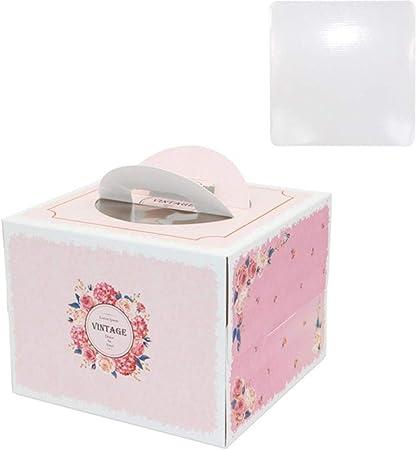 COMPY 5 Set Caja de Pastel de 6 Pulgadas con manija de Ventana Caja de Pastel de Queso de Papel Kraft niños cumpleaños Boda Fiesta en casa, 2-2,20x20x15cm: Amazon.es: Hogar