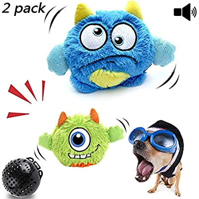 NEILDEN-Interactive-Dog-ToysPlush-Squeaky-Giggle-BallAutomatic-Electronic-Shake-Dog-ToyEntertainment-Suitable-for-Small-to-Medium-Dogs-Best-Gift-for-PuppyTwo-Plush-ToysSqueaker-Ball