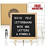 """Felt Letter Board - Special Set Includes 680 Letters/Numbers/Symbols/Emojis + Sorting Case + Travel Pouch + Letterboard Stand (10"""" x 10"""" Oak Frame, Black Felt w/Hook Attached) - by WILDTRAILZ"""