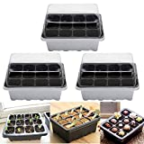 TUANTUAN 3 Pcs 12 Cells Hole Seeds Grow Box Case Plastic Germination Seed Starter Tray Flower Plant Pot Propagation Seedling Tray