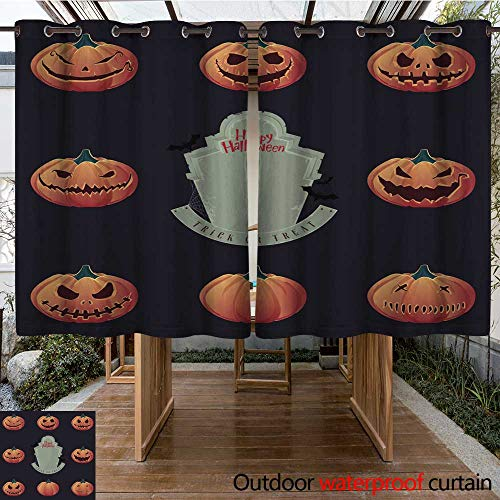 RenteriaDecor Outdoor Curtains for Patio Waterproof Halloween Pumpkin Carving and Creepy Tombstone Vector W63 x L72