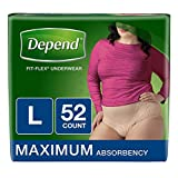 Depend FIT-Flex Incontinence Underwear for Women, Maximum Absorbency, L, Tan, 52 Count (2-Pack(L, Tan, 52 Count))