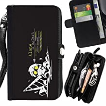 SHIMIN FOR LG OPTIMUS ZONE 3 cool funny art guy drill dig dark black yellow worker Zipper Wallet With Strap Card Holder Case Cover