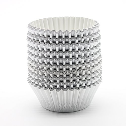 UNIQLED Pack of 200 Metallic Foil Paper Muffin Cupcake Liners Baking Cups Standard Size (Silver)