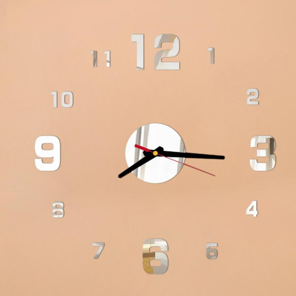 LiPing 14'' Acrylic 3D Modern DIY Wall Clock - Easy To Read & Install Best For Home/Office/School Universal Use, Battery Operated (Silver)