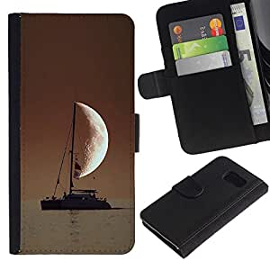 All Phone Most Case / Oferta Especial Cáscara Funda de cuero Monedero Cubierta de proteccion Caso / Wallet Case for Samsung Galaxy S6 // SAILOR IN THE SEA HALF MOON