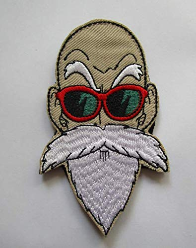 (Master Roshi Face Dragon Ball Z DBZ GT Vegeta Goku Military Patch Fabric Embroidered Badges Patch Tactical Stickers for Clothes with Hook &)