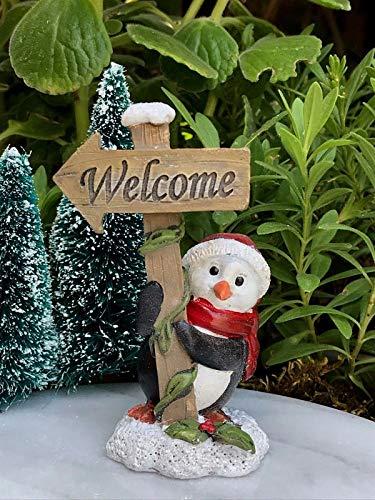 Magic Miniature Dollhouse FAIRY GARDEN Mini CHRISTMAS Snow Penguin Welcome Sign Mini Garden Scene
