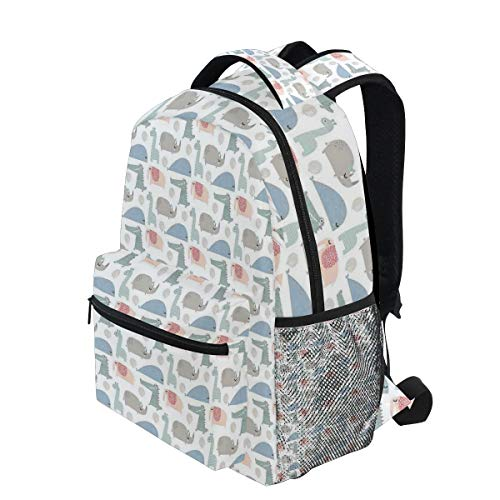 KVMV Rhinoceros Crocodile and Elephant with Festive Balloons Jungle Party Animals Lightweight School Backpack Students College Bag Travel Hiking Camping Bags