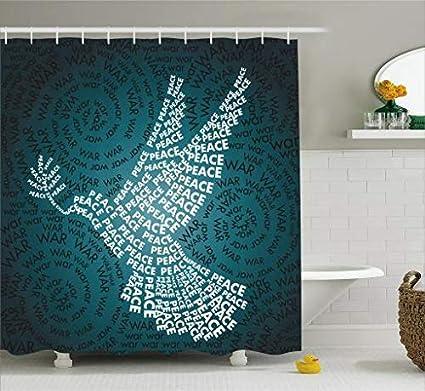 ABAKUHAUS Espacio Exterior Cortina de Baño, Paloma Símbolo de la Paz Palabras en Espiral Arte