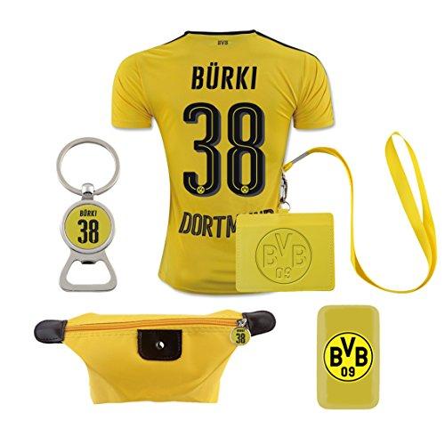 #38 Burki (6 in 1 Combo) Dortmund Home Match Adult Soccer Jersey 2016-17