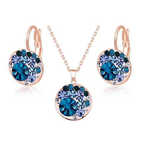 Cut-throat Price 26 Colour Cheap Multicolour Crystal Round Earring Necklace Jewelry Set