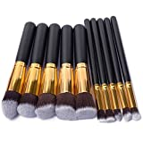BUSKY Makeup Brushes Set 10 PCS Wood Handle Soft Nylon Bristles Kabuki Powder Blush Liquid Eyeliner Eyeshadow Lip Eyebrow Brush
