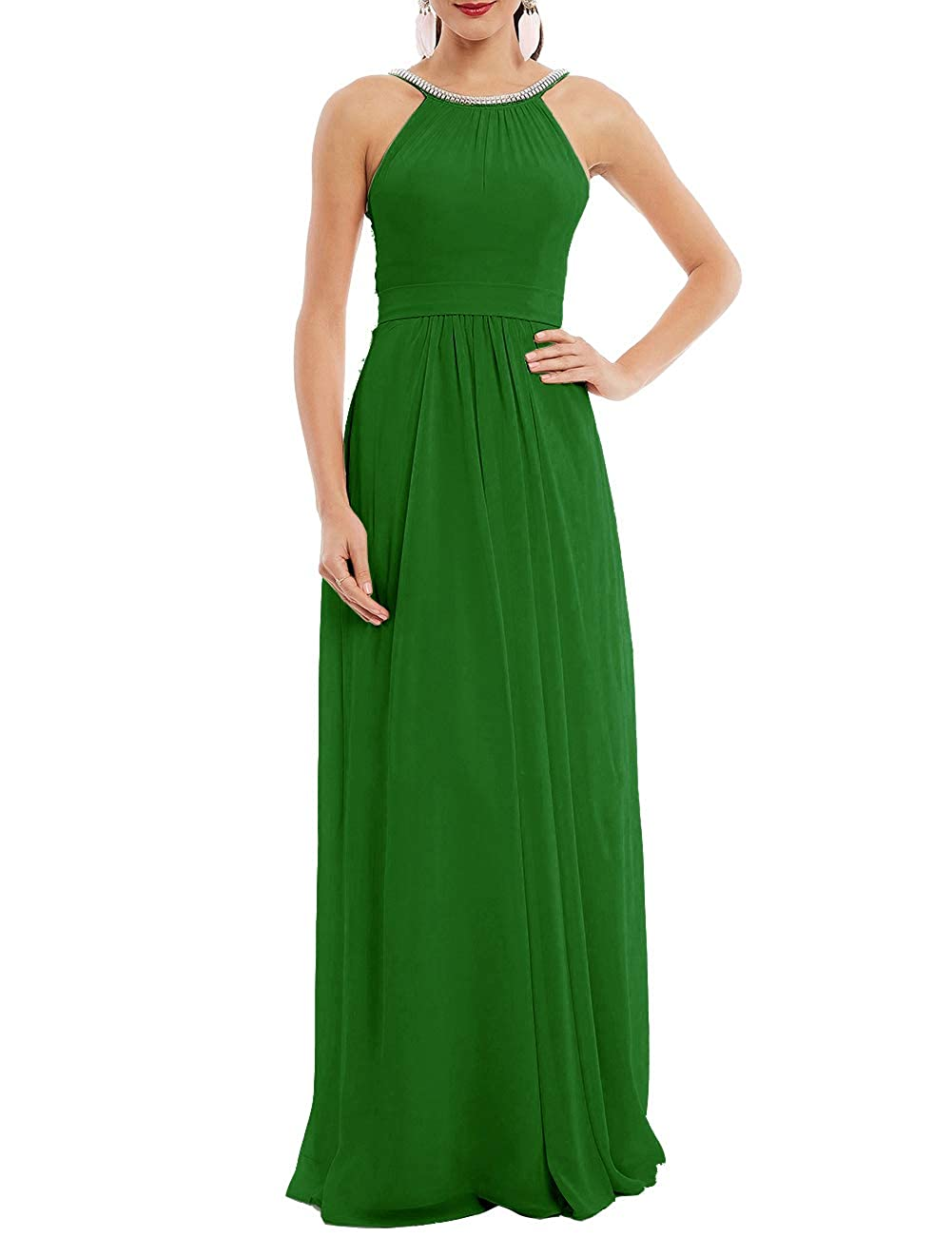Halter Formal Evening Prom Gowns Long Chiffon Bridesmaid Dresses A-Line Beaded