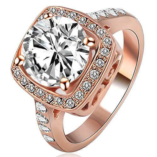FENDINA Jewelry 18K Rose Gold Plated Wedding Engagement Rings Bling Cubic Zirconia Crystal for