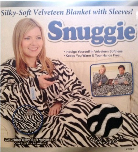 Snuggie ZebraパターンSilky Soft Velveteen Blanket with Sleeves B00A91KUS2