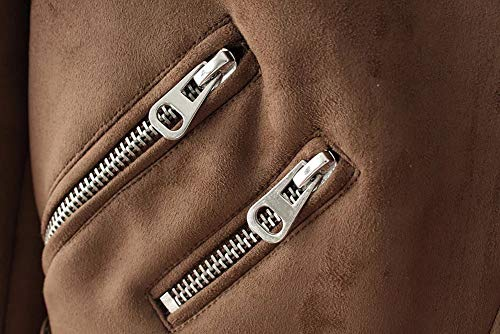 Femme S Motard xl 88 Veste Label Blouson 100cm Faux Marron buste Automne Babyfat Manche Longue Simili En Cuir D'hiver BawdWq6nO