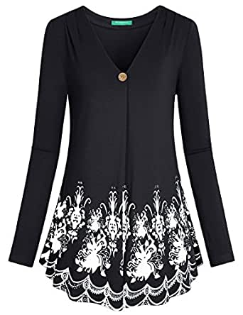 Tunics for Women to Wear with Leggings ,Kimmery Ladies Jerseys Sweatshirts Knit A-Line Flare Hem Button Detail Floral Pattern Petite Relaxed Fit Comfortable Fall Blouse Top Black M