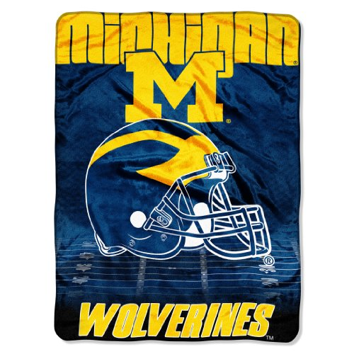 (Officially Licensed NCAA Michigan Wolverines Overtime Micro Raschel Throw Blanket, 60