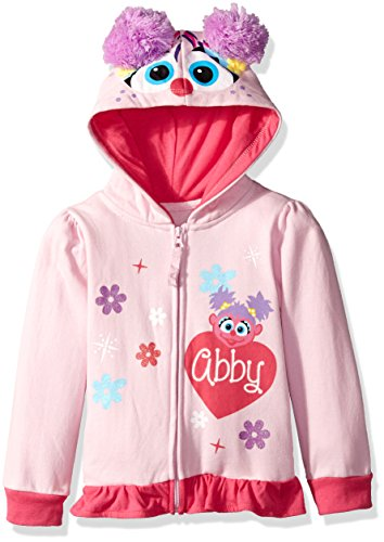 Sesame Street Little Girls' Toddler Abby Cadabby Costume Hoodie with 3D Wings, Light Pink, 4T -