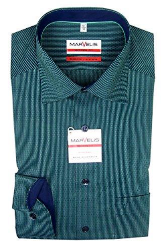 Marvelis - modern fit Hemd dunkelgrün 7215-74-40 langarm Patch