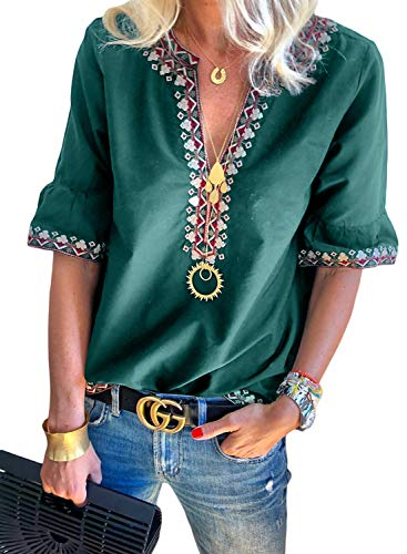 Women's Summer Boho Print V Neck Short Sleeve Casual T-Shirt Tops Loose Blouse Green L