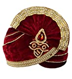 INMONARCH Mens Groom's Wedding Turban Pagari Safa Groom Hats TU1097 22H-inch Red
