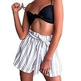 Spbamboo Clearance Women Lady Retro Stripe Fit Elastic Waist Pocket Shorts Pants