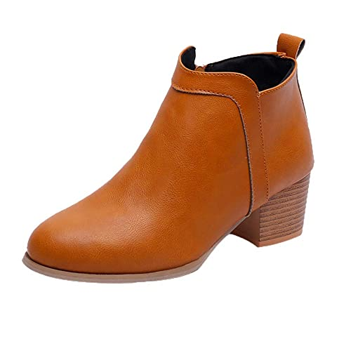 Botines Mujer Tacon Medio Invierno Planos Tacon Ancho Piel Botas Botita Moda 5cm Casual Planas Zapatos Calzado Gusspower: Amazon.es: Zapatos y complementos