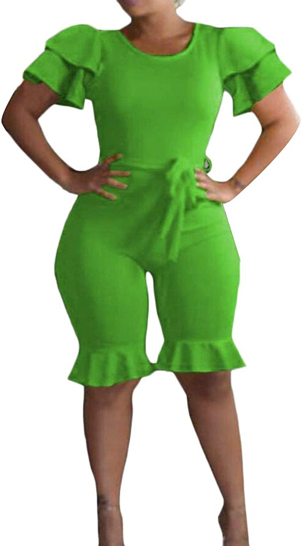 Keaac Women Ruffled Sleeveless Bodycon Capri Short Jumpsuits Romper with Belt