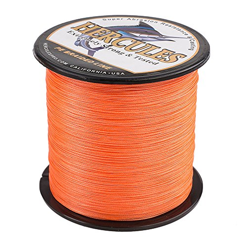 - HERCULES Super Cast 1000M 1094 Yards Braided Fishing Line 40 LB Test for Saltwater Freshwater PE Braid Fish Lines Superline 8 Strands - Orange, 40LB (18.1KG), 0.32MM