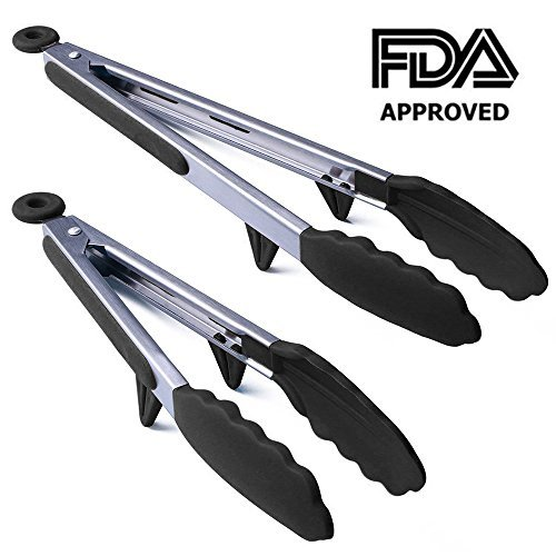 Kitchen Tongs,Conlink Stainless Steel Non-Stick Heavy Duty Cooking Tongs with Silicone Heads and Stands Design for Cooking,Salad,BBQ,Serving,Set of 9, 12 Inch ()