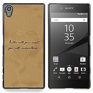 Eason Shop / Premium SLIM PC / Aliminium Casa Carcasa Funda Case Bandera Cover - Escritura del amor del corazón del papel de Brown del café - For Sony Xperia Z5 5.2 Inch (Not for Z5 Premium 5.5 Inch)