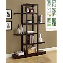 Monarch Specialties I 2541 Cappuccino Finish Open Concept Display Etagere