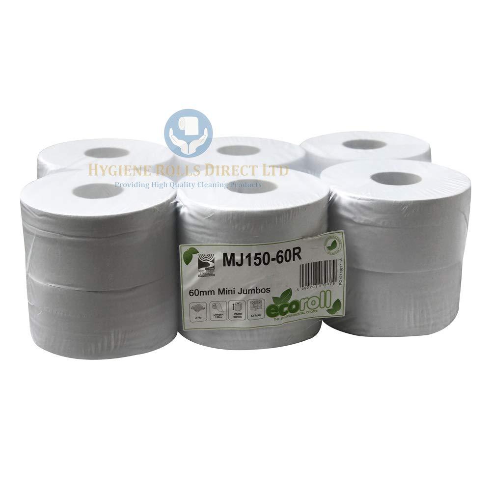 Mini Jumbo Toilet Rolls 95mm x 150M Roll 2 Ply 76mm Core Pk12 SIRIUS