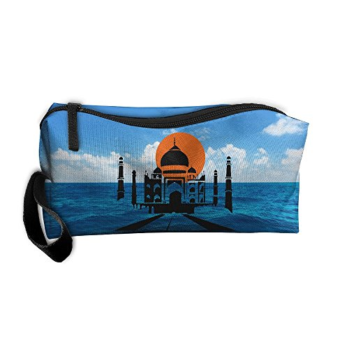 (Taj Mahal Clip Art Portable Zipper Storage Bag Sewing Kit Medicine Bag Cosmetic Bag For Home Office Travel Camping Sport Gym Outdoor)