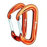 12KN Aluminium Wiregate Carabiners (Set of 2) - Rated 2697 LBS each - Lightweight Carabiner Clips for Hammock (Orange)