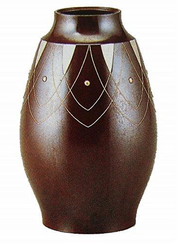 中谷秀山『9号鼓型銀象嵌花器』銅製【オブジェ置物】【R128】 B06XRL2TX5