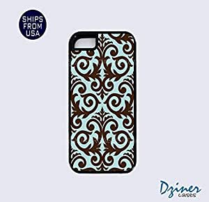 iPhone 5 5s Tough Case - Chocolate Blue Damask Pattern iPhone Cover
