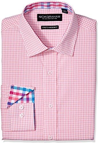 Nick Graham Men's Modern Fitted Mini Windowpane Check Stretch Dress Shirt, Pink, (Windowpane Check Shirt)