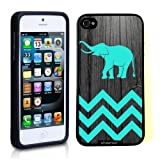 Iphone 5 Case Thinshell Case Protective Iphone 5 Case Shawnex Teal Elephant On Dark Wood
