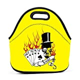 Poker Skull Cards Lunch Bag Multifunction Bento Pouch Student Worker Travel Mummy Lunchbox Portable Satchel Baby Bag Tote