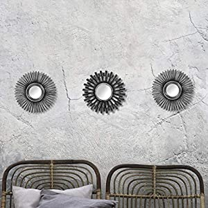 HomeZone 3Pc Shabby Chic Round Sunburst Wall Mirrors In Distressed Silver, Decorative Wall Mountable Shabby Chic Home…