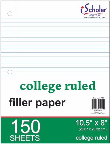 iScholar College Ruled Filler Paper, White, 10 x 8.5-Inches, 150 Sheets per Pack (81151) by iScholar