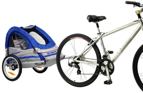 Schwinn Trailblazer Single Bike Trailer,Blue/Gray,16-Inch (Baby Bike Trailer)