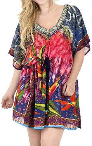 La Leela ligeras las señoras la gasa Boho kaftan del traje baño partido ocasional bohemio vestido verano túnica superior resortwear traje baño encubrimiento parte superior del poncho multicolor